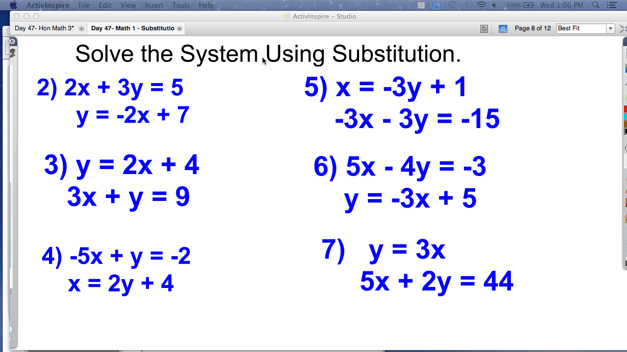 hight resolution of Math Worksheets Substitution And Elimination mathematics substitution  worksheet systems of
