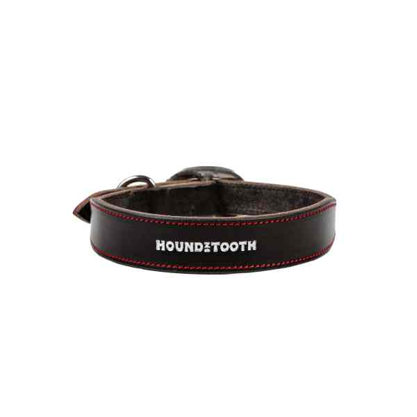 Classic Houndz Black Leather Dog Collars with Red Accents