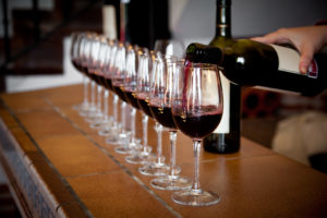 Wine poured for tasting