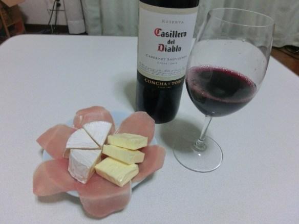 適当つまみとワイン