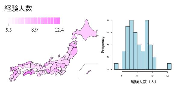 経験人数都道府県分布