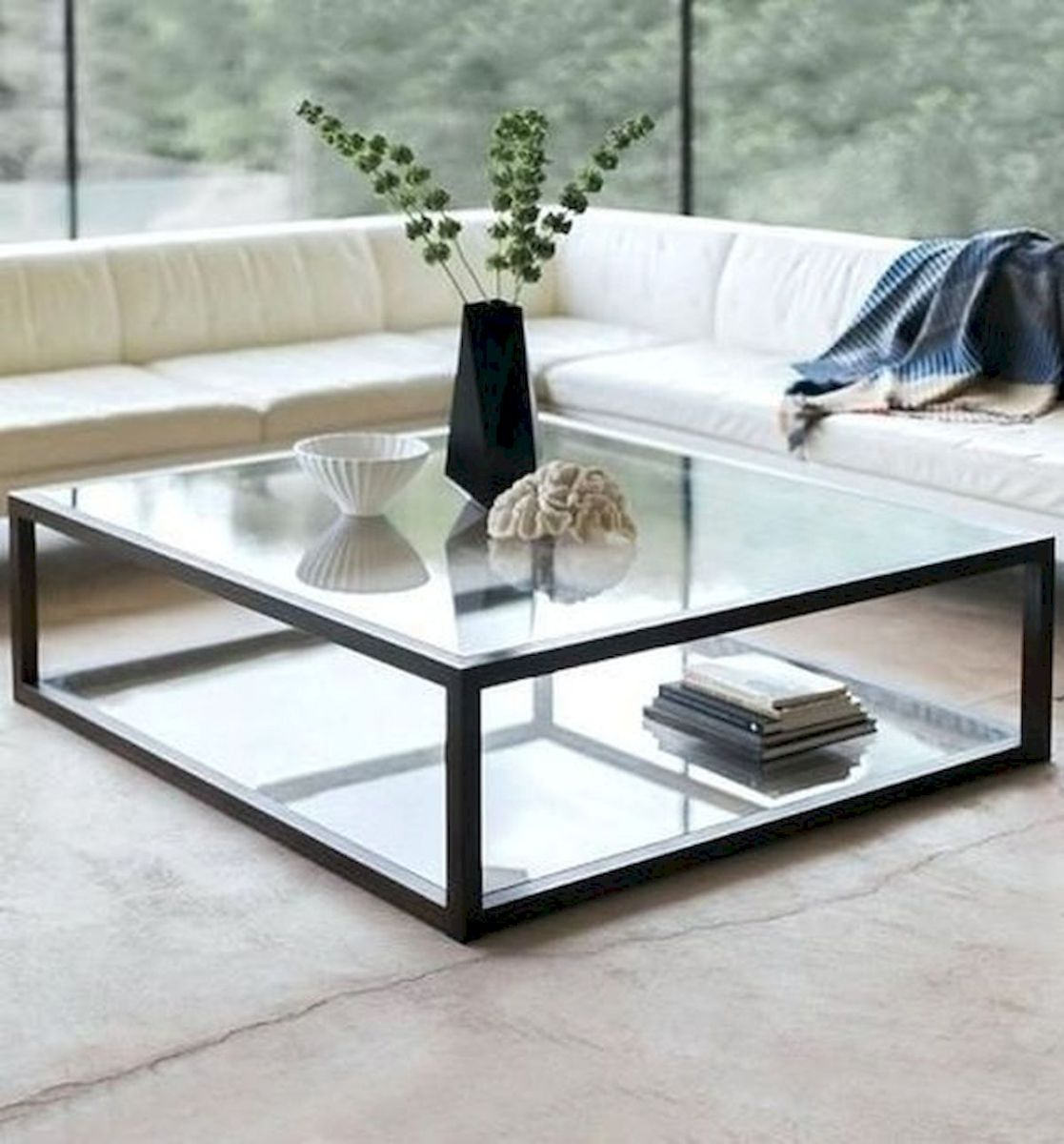 40 Awesome Modern Glass Coffee Table Design Ideas For Your Living Room (9)