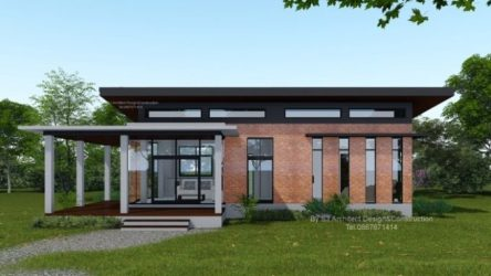 Low cost Modern Two bedroom House Design with L shape Veranda House And Decors
