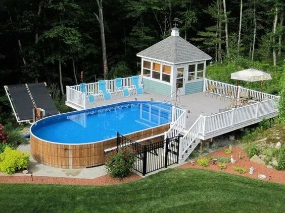 Rocky Above Ground Pool Ideas Backyard