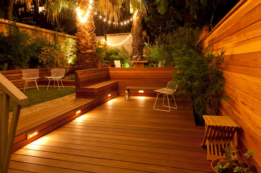 wooden deck lighting ideas