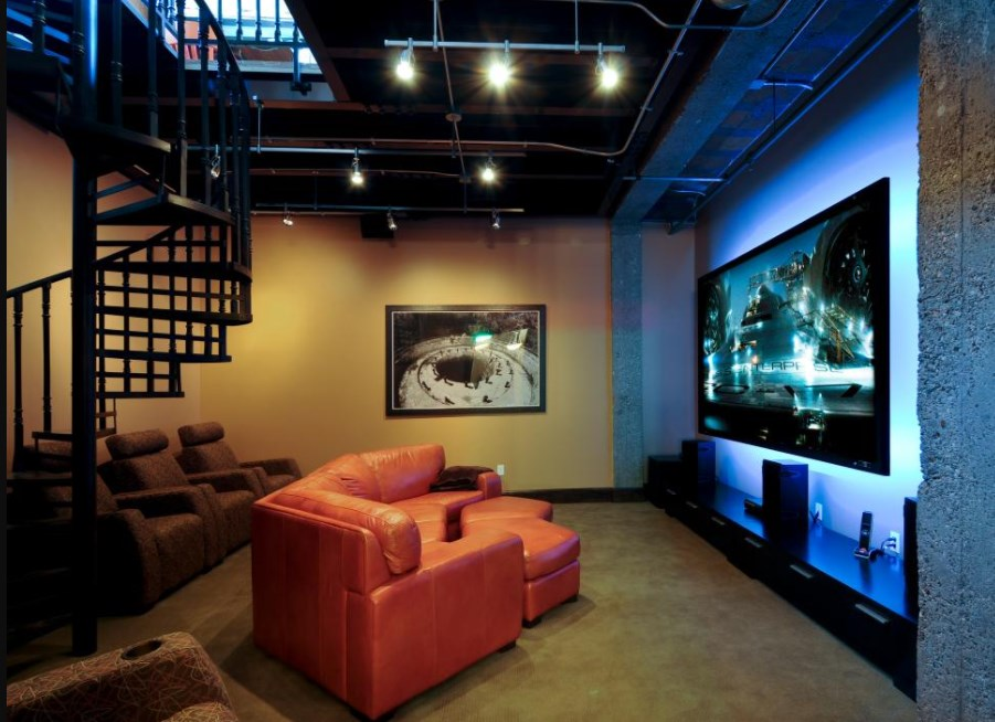 basement home theater size