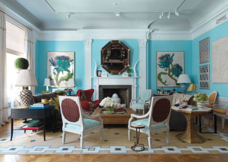 turquoise and pink dining room