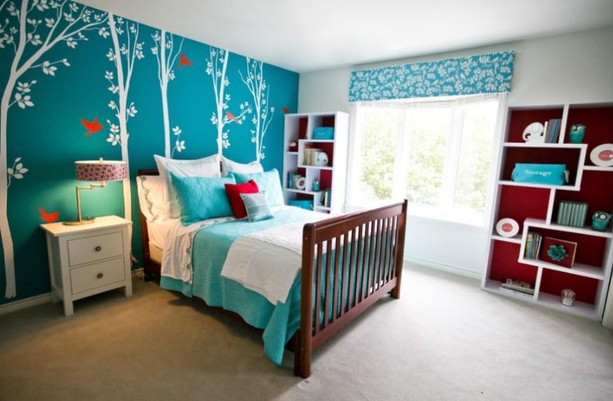 turquoise wallpaper for living room