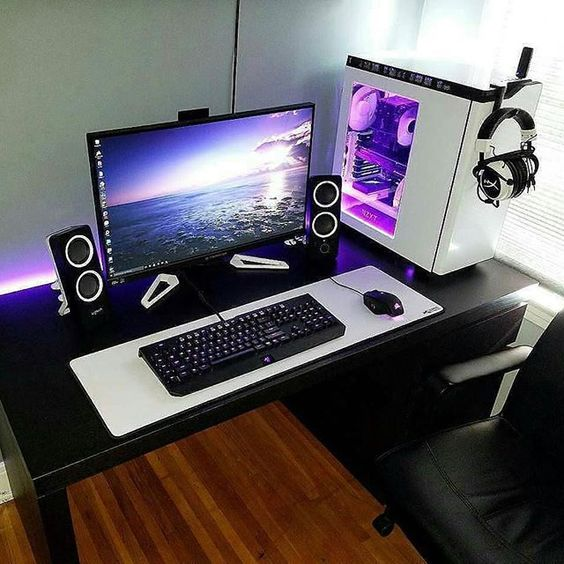 Black and White Gaming Setup
