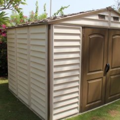 Rattan Patio Chairs Uk Poang Chair India Woodside 10 X 8 Vinyl Storage Shed With Foundation And Three Fixed Window - House Garden Store