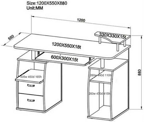 (BTM) PC Table Computer desk with drawers for Home Office