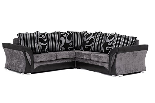 sofa seat height 60cm cushions online uk new farrow leather & chenille fabric corner in black ...