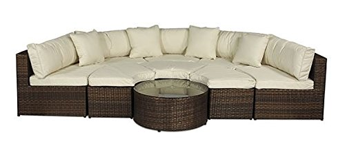 Monaco Large Rattan Sofa Set Semi Circle With Small Round Glass Table And Cushions