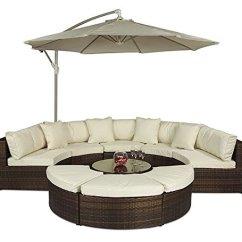 Corner Sofa Reviews Uk Reclining Austin Tx Monaco Large Rattan Set (semi Circle) With Small ...