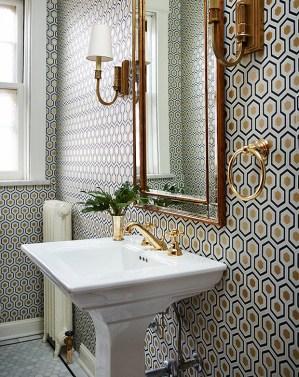 powder rooms wall decor wallpapered gold bathroom modern cole son coverings warm houseandhome hexagon bathrooms cheap hicks antique sconces designs
