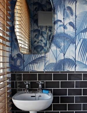 powder rooms wallpapered cool tiny subway vibe jungle tiles thanks london