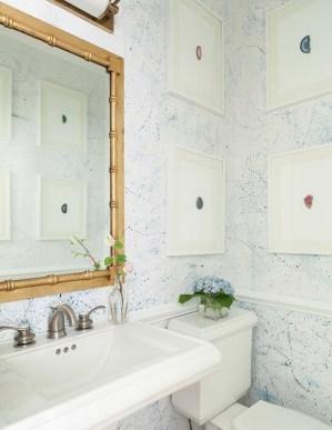 powder rooms paint bathroom wallpapered bathrooms mirror bedrooms splatter bishop gold decorating framed subtle wall splattered bamboo friday favorites designs