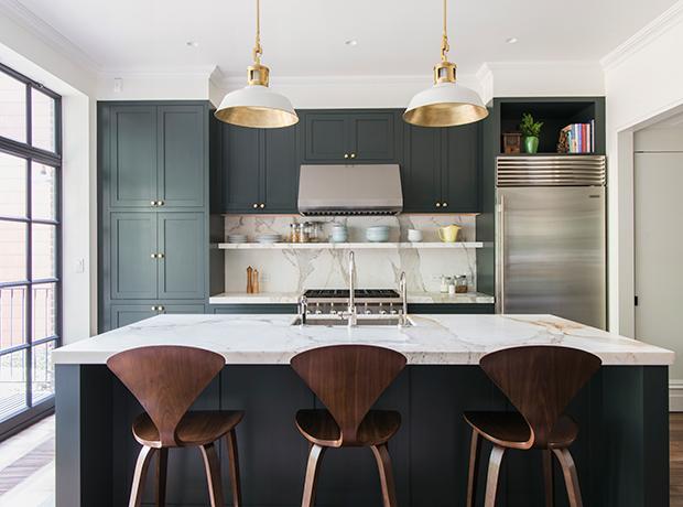15 Green Kitchens Kitchen Dark Green Cabinets Brooklyn Brownstone