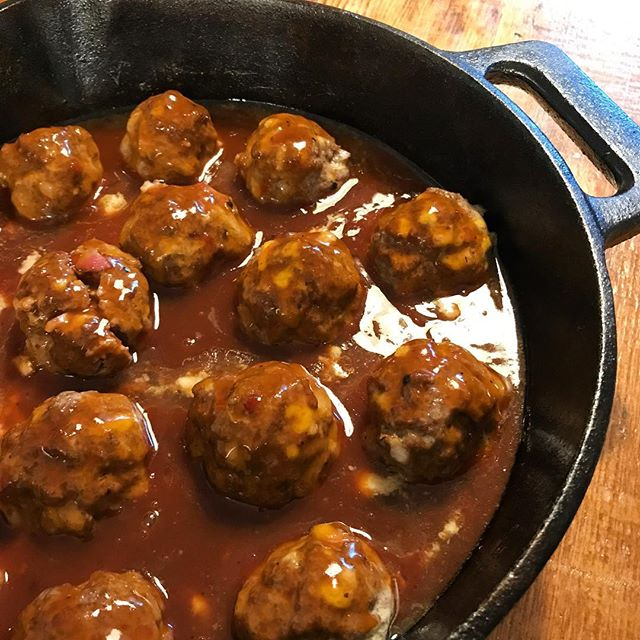 Easy Cast Iron Skillet BBQ Meatballs