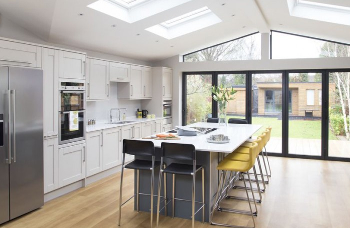 open plan kitchen living room ideas ireland leather chair and ottoman a contemporary extension filled with light