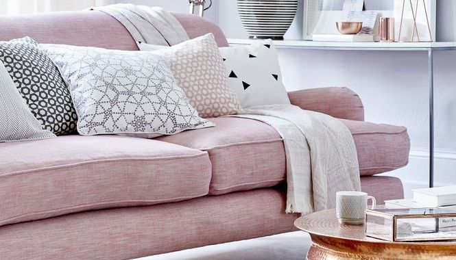 pink and grey living room