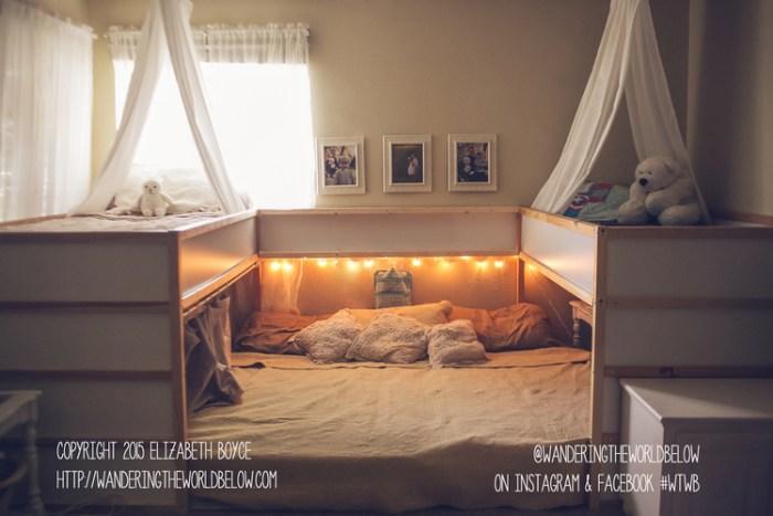 Cama familiar con la cama Kura de Ikea