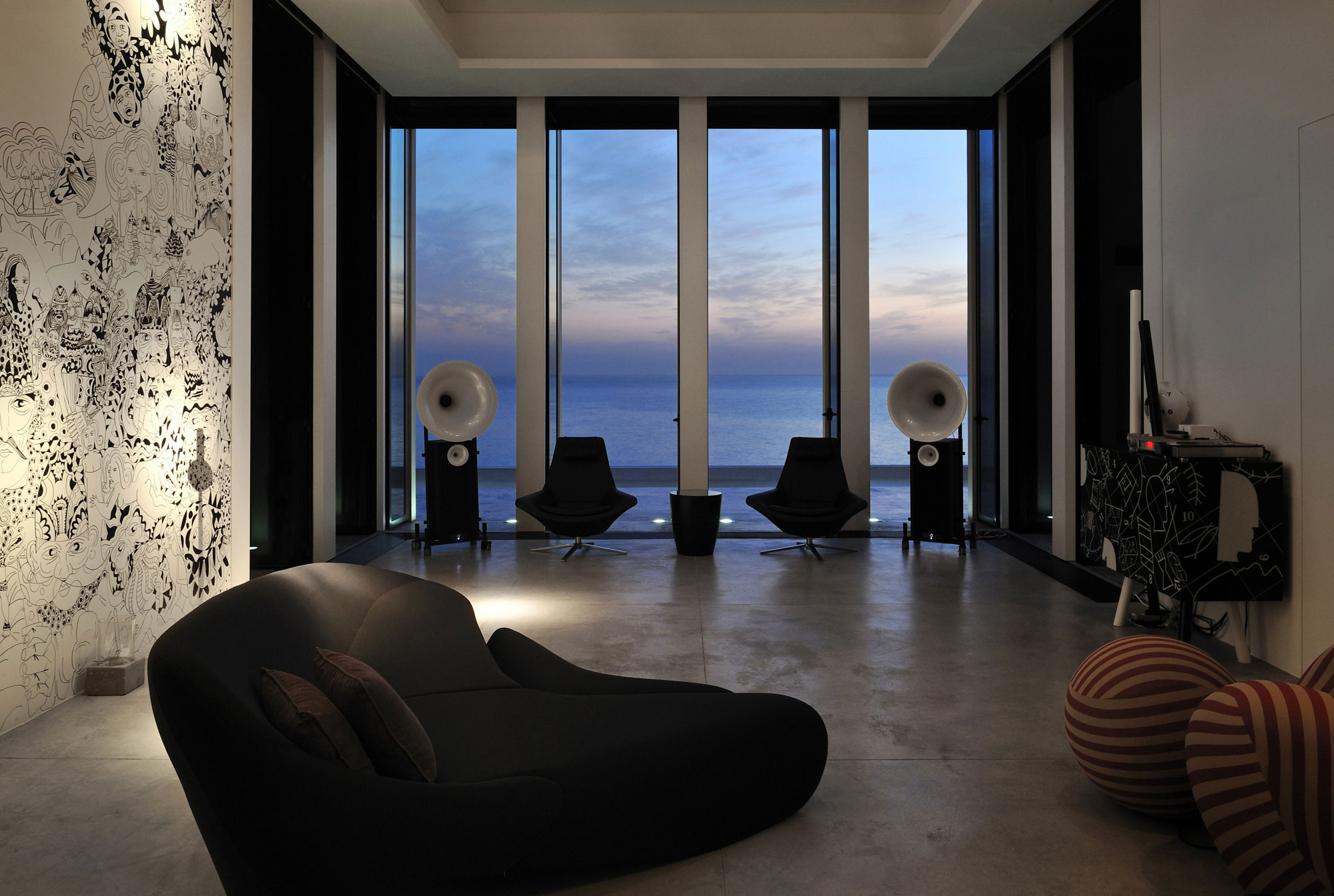 family room sofa table leather reclining and loveseat futuristic modern beach house called fidar in lebanon ...