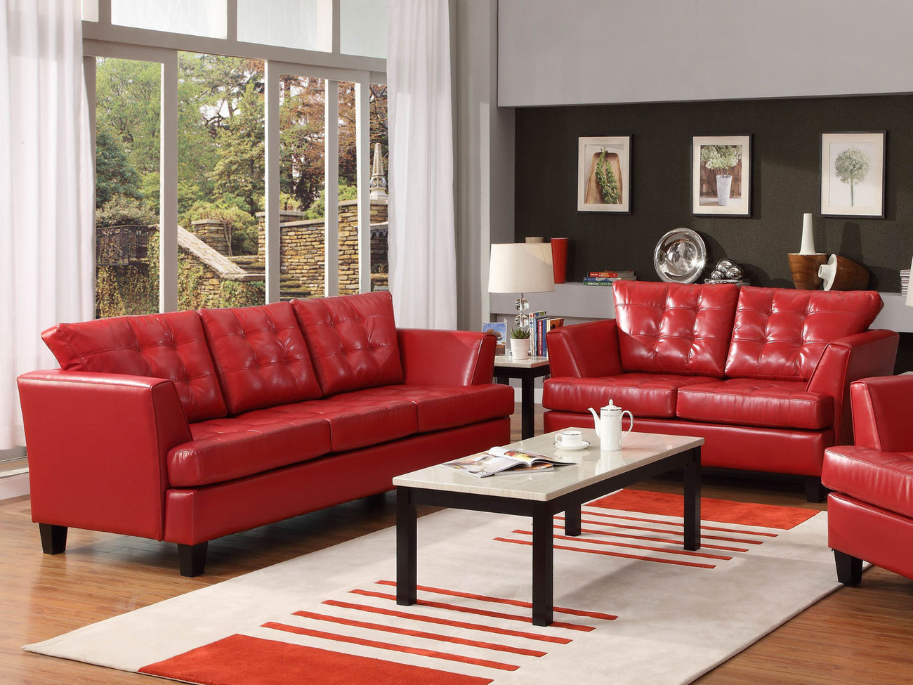 brown color leather sofa wooden for lobby attractive red interior living room ...