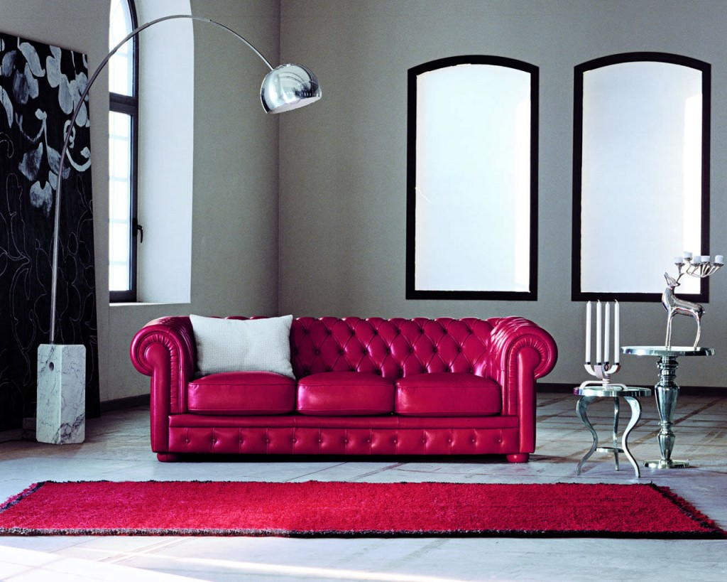 Attractive Red Leather Sofa For Interior Living Room HouseBeauty