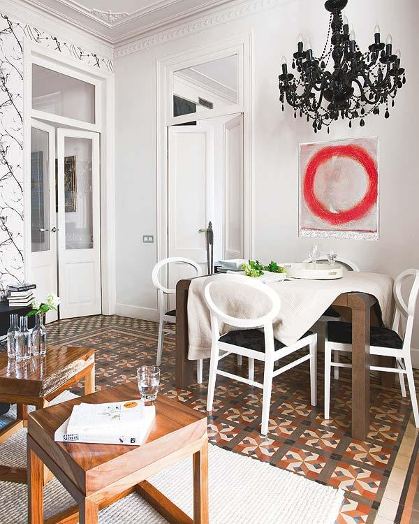 vintage wooden chairs clear dining uk stylish interior design with white wall and geometrical floor : housebeauty