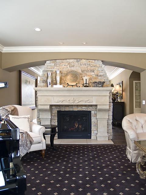 Inspiring Stone Fireplace Design for Contemporary Room