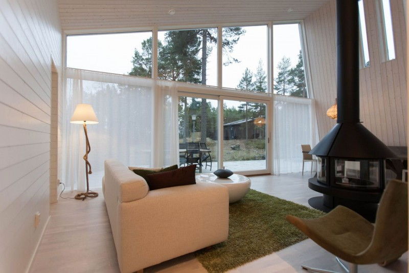 Shining White Wood Interior in House Project of Chalet