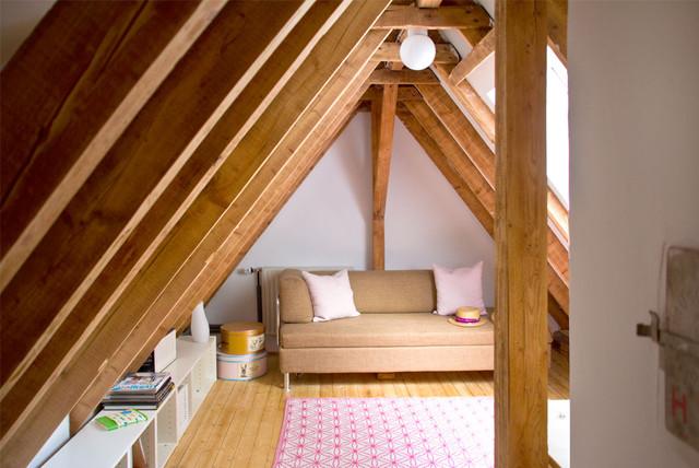Bright Attic Bedroom Ideas with Glowing Interior Slanted
