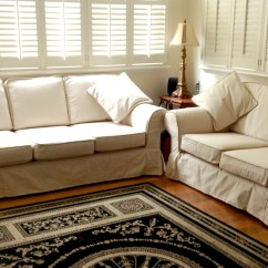 Blue Sofa White Piping Leather Outlet Darlington Reviews Various Slipcover Ideas For Your Inspirations