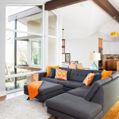 Decorate Living Room Black Leather Sectional Arranging Furniture In Fashionable Grey Sofas Which Underlines The All White ...