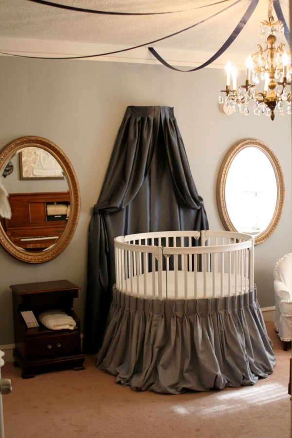 Adorable Crib Decorated Vintage Ornaments In Small Room Housebeauty
