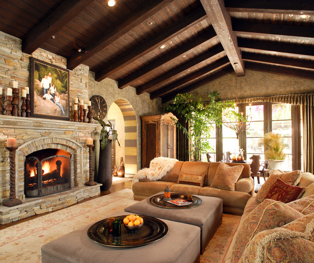 Inspiring Stone Fireplace Design for Contemporary Room  HouseBeauty