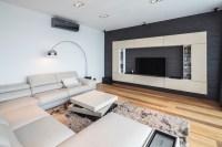 Sleek Beige Living Room in Brown Wood Flooring With Grey ...