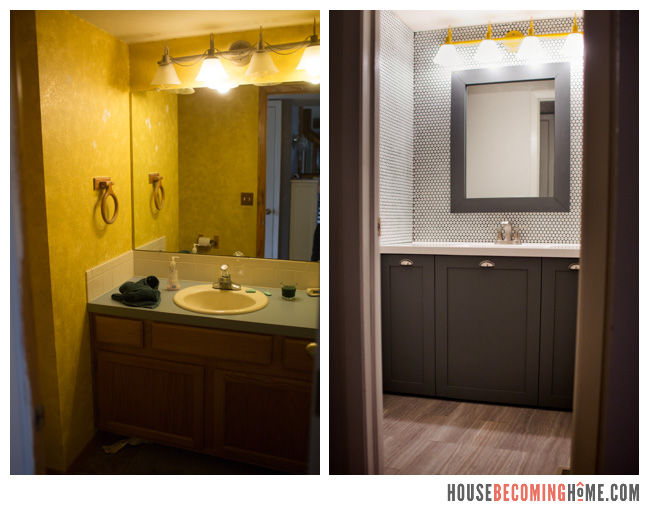 Powder Room Update Before and After