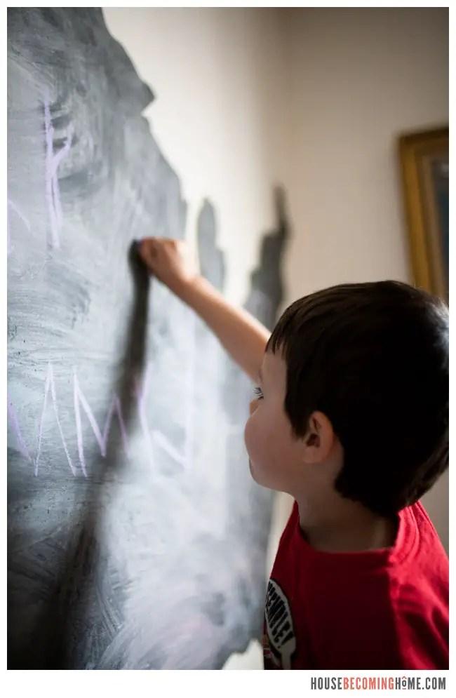 drawing on DIY US chalkboard