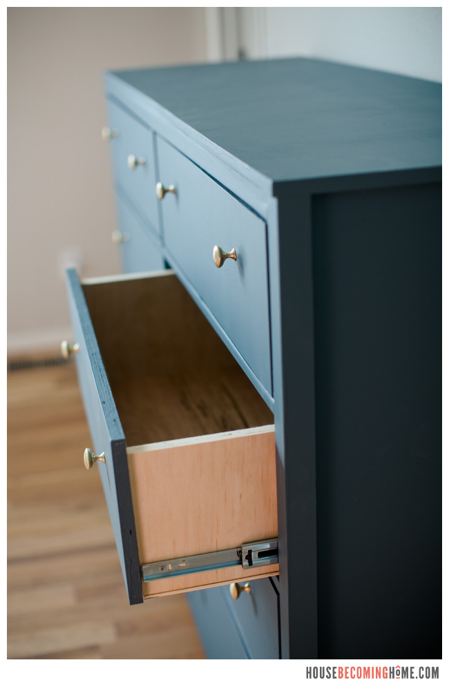 DIY eight drawer dresser drawer open