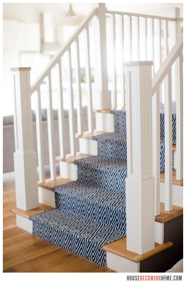 Wood Stair With White Risers And Blue Stair Runner
