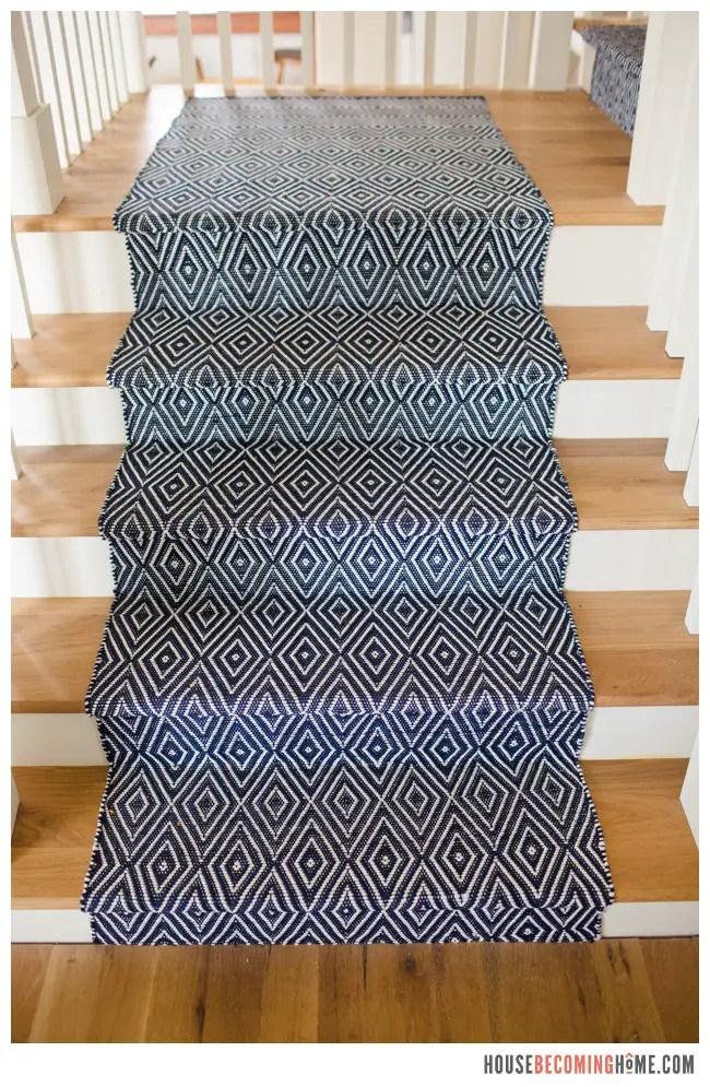 Dash and Albert Blue Stair Runner on white oak stairs