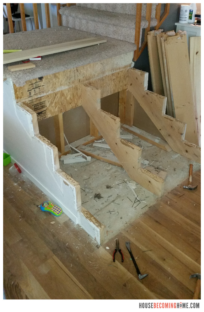 DIY Stair Update risers and treads removed