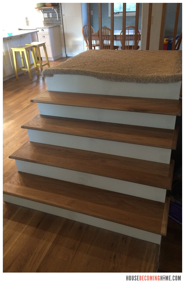 ... Stairs Updated With Oak Treads And White Painted Risers
