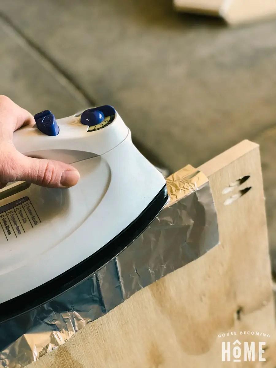 plywood veneer on diy shoe cabinet