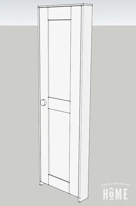 3-D sketch of DIY shaker style door with jamb