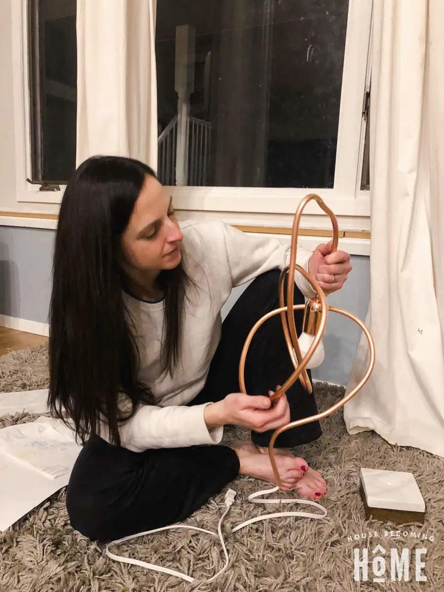 Twisting copper pipe for DIY modern light