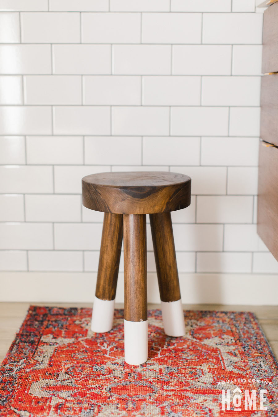DIY Stool With Chunky Walnut Top and 11 Degree Angled Leg Mounting Plates