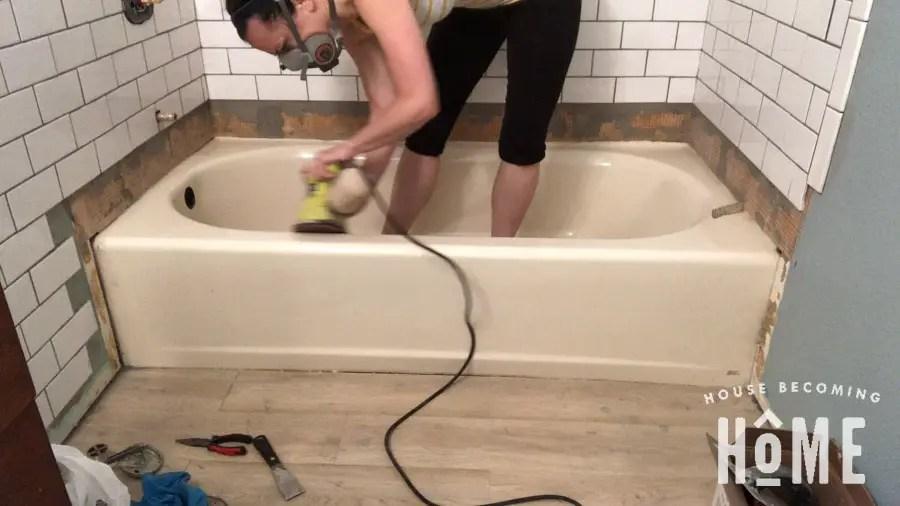 Sand Bathtub Before Painting It